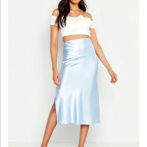 Satin side split skirt